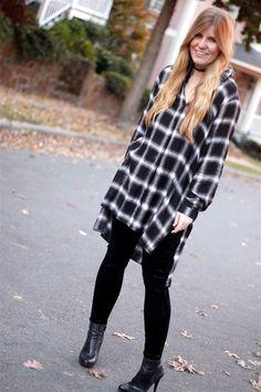 How I Wore My Heels: Velvet Leggings, Plaid Tunic