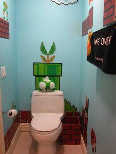 Super Mario inspired bathroom idea - via 10 Envy-inducing Video Game Bathrooms by mentalfloss