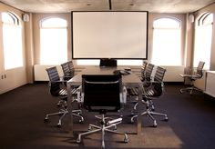 Drop down screen for conference room