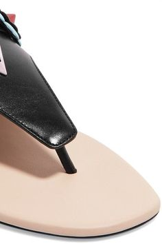 Fendi - Studded Appliquéd Leather Sandals - Black - IT38.5