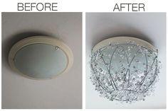 diy chandelier before after