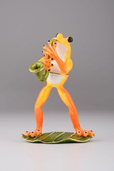 Musical Frog on a Leaf Faberge Styled Trinket Box by KerenKopal