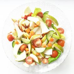 """""""S a l a d ♡  Lettuce, cherry tomatoes, cucumber, carrot, sweet bell pepper, pear and apple."""""""