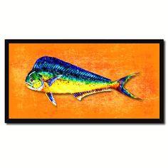 Dorado Fish Art Orange Canvas Print Picture Frames Home Decor Nautical Fisherman Gifts