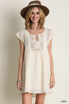 Crinkle Shift Dress With Lace Detail
