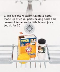 To Clean Tub Stains.  I've done this and it really works well,.  Better than anything I've bought at the store.