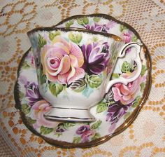 4:00 Tea...Royal Albert...Amethyst teacup and saucer