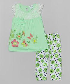 Look at this #zulilyfind! Apple Butterflies Lace Top & Leggings - Toddler & Girls by Littoe Potatoes #zulilyfinds
