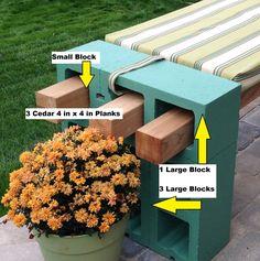 painted cinder block bench