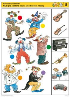I like the clowns and their musical instruments. Circus Activities, Autism Activities, Activities For Kids, Science Experiments For Preschoolers, Preschool Science, Music Worksheets, Preschool Worksheets, Clown Cirque, Free Printable Puzzles