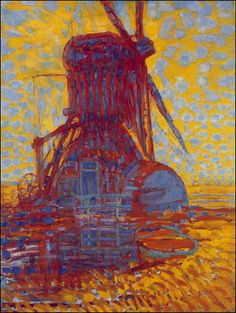 Molen Mill; Mill in Sunlight by Piet Mondrian  This is form a good artcile explaining how Mondrain moved form abstraction to pure abstract works. http://emptyeasel.com/2007/04/17/piet-mondrian-the-evolution-of-pure-abstract-paintings/