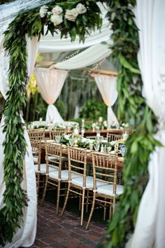 Gold and garland: http://www.stylemepretty.com/florida-weddings/winter-park-fl/2014/12/29/luxury-garden-wedding-in-winter-park-florida-at-casa-feliz/ | Photography: Kristen Weaver - http://www.kristenweaver.com/