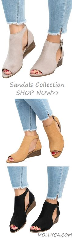 $40.29 USD Sale! SHOP NOW! Free Shipping Ankle Strap Peep Toe Wedge Sandals