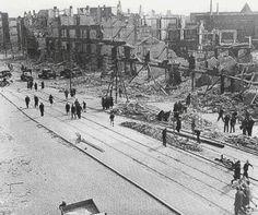 Schiedamseweg na het bombardement van 31 Maart 1943