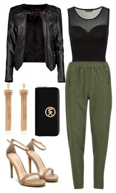 A fashion look from September 2015 featuring crop tops, moto jacket and zipper pants. Browse and shop related looks. Michael Kors, Boohoo, Polyvore, Shoe Bag, Bags, Clothes, Collection, Shopping, Design