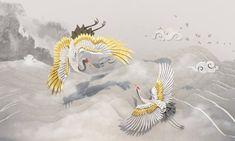 古道霜荷 Kodo Suarho on Behance Crane, Adobe Illustrator, Rooster, Moose Art, Branding, Graphic Design, Illustration, Painting, Animals