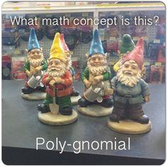Poly-gnomial (polynomial) Ha Ha so funny if you're a math geek. Algebra Humor, Math Humor, Algebra 1, Math Puns, Math Memes, Science Puns, I Love Math, Fun Math, Kids Math