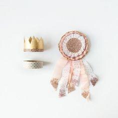 Pink, White, Gold Polka Dot Crepe Paper Rosette Brooch, Birthday, Wedding, Party Decoration, Award Ribbon