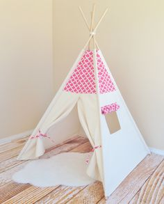 Modern Coral Bekko Natural Canvas Play Tent Teepee by AshleyGabby, $159.00