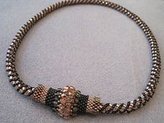 Russian spiral necklace with focal tube