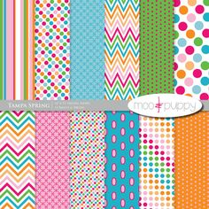 Digital Paper Pack -  Tampa Spring  -- INSTANT DOWNLOAD by Moo and Puppy