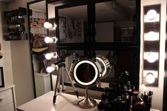 5 Step Vanity Lighting Tutorial- I could definitely use something like this for my dorm. I get terrible lighting on the side of my room that I use to get ready and do makeup in. I love that she used the lamp cords to plug them in; that makes them really easy to move in and out every year.