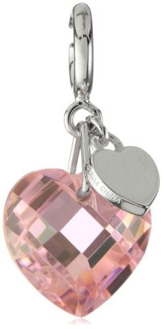 "ELLE Jewelry ""Charms"" Faceted Pink Heart Crystal Sterling Si"