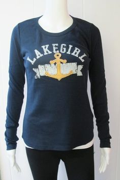 Navy Anchor Thermal | This Anchor Thermal is a great lightweight long sleeve shirt for those cooler nights.  Soft distressed logo screen print on front, topped with a rough-edge boat anchor applique.   Finger holes on extra long cuffs.  50% Cotton/50% Polyester.  Sizes S-XL. | Willy & Babbish Boutique | New Baltimore, MI