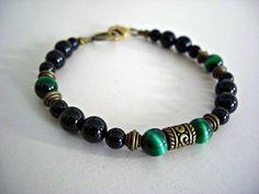 Green Tiger Eye,Black Onyx, Antique Brass Accents Men's Bracelet,Men's Jewelry on Etsy, $26.62