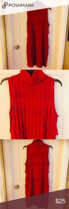 Gorgeous Mock Neck Sleeveless Red Sweater Dress Stunning mock neck sleeveless light weight sweater dress by Calvin Klein. Fabric is 100% Acrylic. Worn once (in my smaller days 😉). Size large. Calvin Klein Dresses Midi