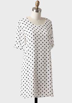 Emily Polka Dot Shift Dress In White
