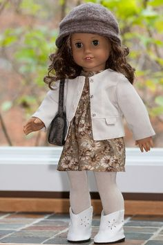 American Girl Doll Clothes Tan Print Baby Doll by OriginalsByGaby