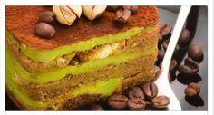 Tiramisù al pistacchio Ingredienti base 300 g di savoiardi q.b di caffè Ingredienti per la crema a pistacchio 500 g di mascarpone 250 ml di panna da montar