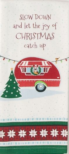 "The Joy Of Christmas Retro Camper 100% Cotton Dish Towel / Tea Towel, 18"" x 28"""