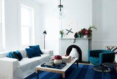 blue // white modern living room