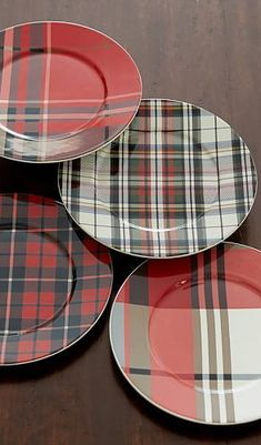 Pottery Barn Mixed Plaid salad plates