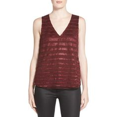 Trouve 'Shadow Stripe' Tank ($68) ❤ liked on Polyvore featuring tops, burgundy london shadow stripe, striped tank top, red stripe tank, red tank, striped top and sleeveless tops