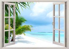 Isla playa pared calcomanía 3D de la ventana playa tropical