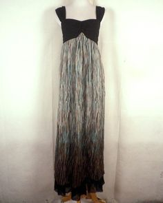 euc Kensie  flowy Sheer Silk / Modal Sleeveless Maxi Dress Hippie Boho sz M #Kensie