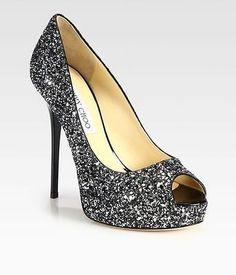38453247e213 Jimmy Choo BLACK SILVER glitter crown peep toe shoes 40.5 NIB Black Peep  Toe Pumps,