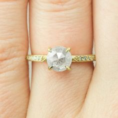 1.22 Carat Icy Grey Rose Cut Diamond Engagement Ring, 14k Yellow Gold Jamie Setting Rough Diamond, Rose Cut Diamond, Grey Diamond Engagement Ring, Engagement Rings, Grey Roses, Heart Ring, Crystals, Yellow, Gold