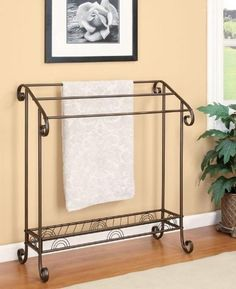 """Freestanding Towel Rack \ Quilt #Stand with bottom #Shelf. All metal construction Dimensions: 33""""X15-1/4""""X36-3/4""""."""