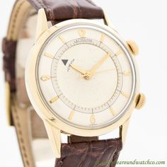 Here we have a 1960's Vintage Jaeger LeCoultre Memovox Alarm watch. This classic timepiece features a 10K Yellow Gold filled case, a patinated, silver dial with yellow gold-colored Arabic numerals, & bar markers, along with a 17-jewel, K814 movement....    #jaegerlecoultre #memovox #alarm #lecoultre #gold #vintagewatches #classicwatches #classic #vintage #watch #watches #cool #wristwatch #collectible #timepiece #stawc