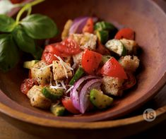 This delicious dish combines fresh vegetables, crusty bread and oil for a different spin on salad.