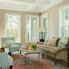 Brown and Blue living Room, Transitional, living room, Liz Caan Interiors