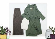 mix e match 🌵🍃 •spolverino salvia •blusa bianca  •pantaloni culotte in tweed #Luan #fashionstore #green #mood