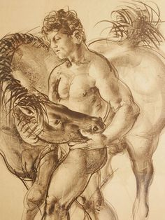 """""""Nude Youth with Horse,"""" Early, Rare Print by Hans Erni"""