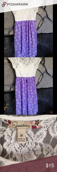 Girls short sleeve lace dress purple/white SZ 16 Girls dress by Speechless, short sleeve, top part is white lace, bottom is purple with white daisies.  Ties in back.  SZ 16.  Great condition. Speechless Dresses Casual