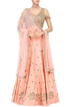 Arpita Mehta Nude Peach Gingko Embroidered Lehenga Skirt and Cold Shoulder Blouse Set #happyshopping #shopnow #ppus