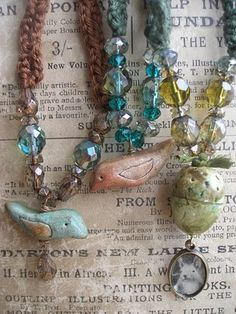 Gorgeous woodland jewelry created by Delila Jemaiel <3,  love the colors and ideas